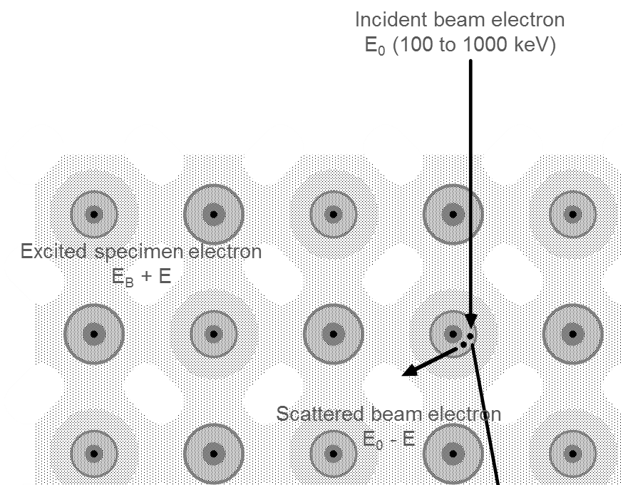 Atom-scale view of electron energy loss in TEM